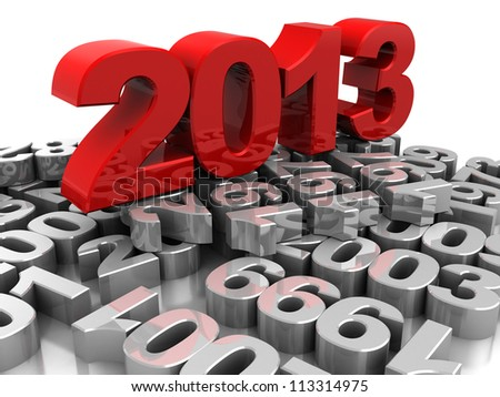 3d illustration, red 2013 placed on grey numbers - stock photo