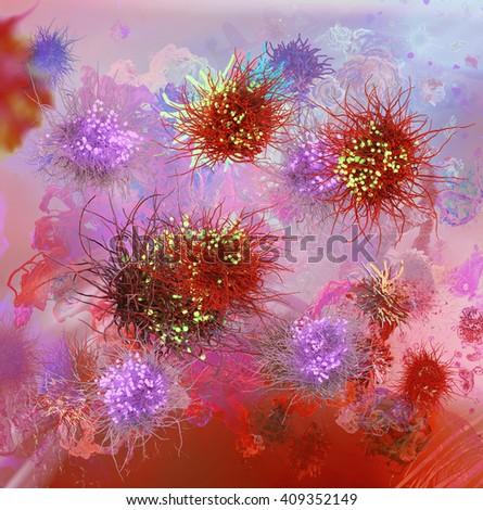 3d illustration Release of viruses from human cell virus or mucous membrane, HIV, influenza, hepatitis B, hepatitis C viruses. Scientific background - stock photo
