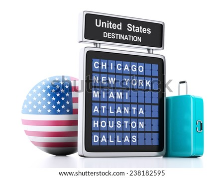 3d illustration render. airport board, united states departures information and travel suitcases on white background - stock photo