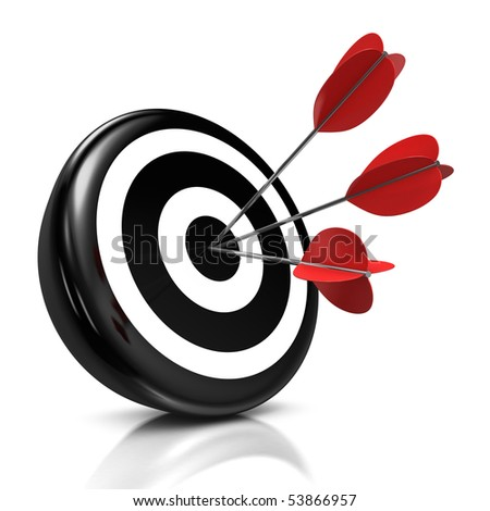 3d illustration/render of a black target with three red arrows in the center - stock photo