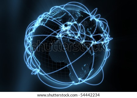 3d illustration/render of a global network - focus on europe - stock photo