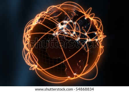 3d illustration/render of a global network - focus on europe