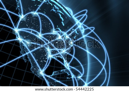 3d illustration/render of a global network - focus on north america - stock photo