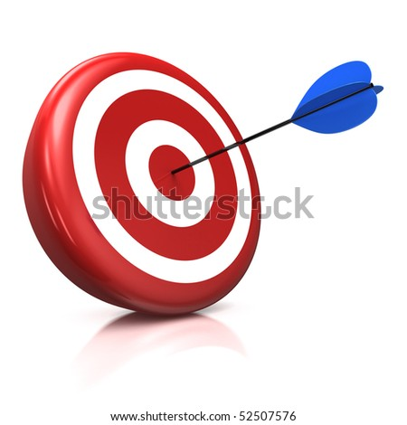 3d illustration/render of a target with a blue arrow stuck right in the center