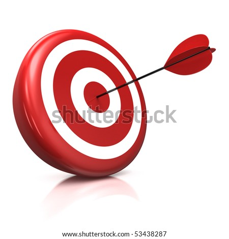 3d illustration/render of a target with a red arrow stuck right in the center - stock photo