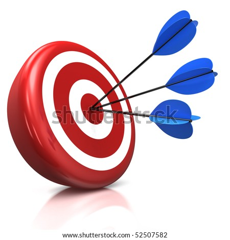 3d illustration/render of a target with three arrows in the center - stock photo