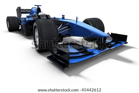 3d illustration/rendering of a blue race car isolated on white - my own car design