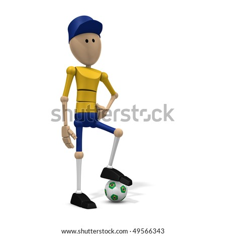 3d illustration/rendering of a brazilian soccer player - stock photo
