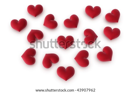 3d illustration/rendering of a bunch of hearts forming a heart shape - stock photo