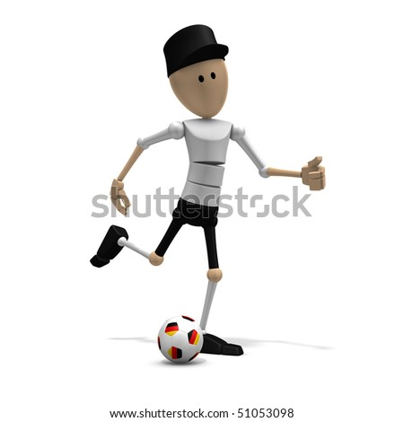 3d illustration/rendering of a german soccer player - stock photo