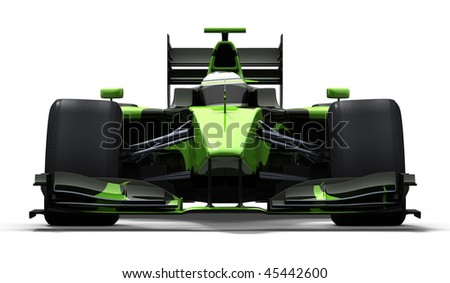 3d illustration/rendering of a green race car isolated - my own car design - stock photo