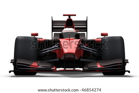 3d illustration/rendering of a red and black race car isolated on white - my own car design - stock photo