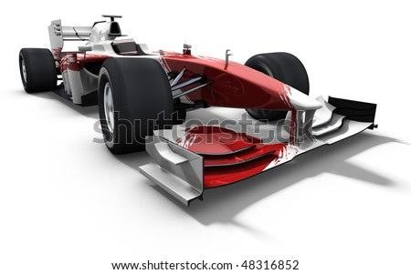 3d illustration/rendering of a red and white race car isolated on white - my own car design - stock photo