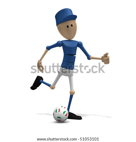 3d illustration/rendering of an italian soccer player - stock photo