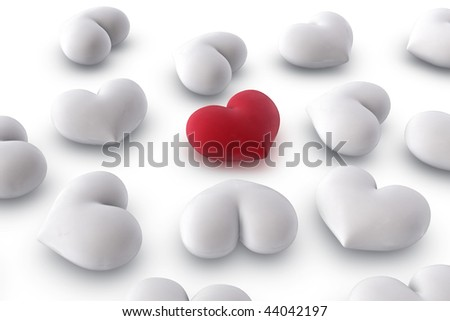 3d illustration/rendering of  one velvety red heart among several white hearts, close-up - stock photo