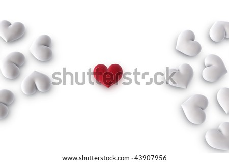 3d illustration/rendering of one velvety red heart between two groups of white hearts - stock photo