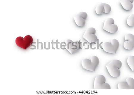 3d illustration/rendering of  one velvety red heart on one side and several white hearts on the other side - stock photo