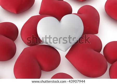 3d illustration/rendering of  one velvety white heart lying on top of several red hearts, close-up - stock photo