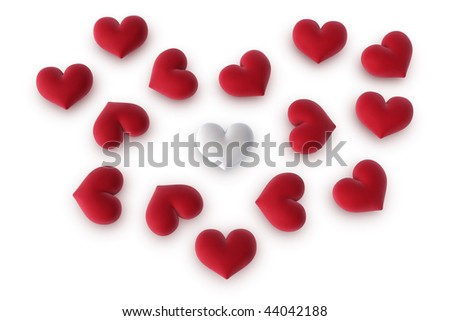 3d illustration/rendering of one white heart among several red hearts forming a heart shape - stock photo