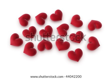 3d illustration/rendering of velvety hearts on a white surface - stock photo