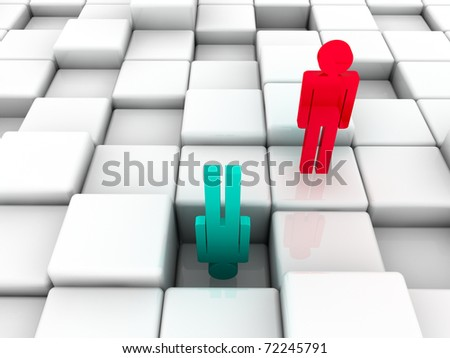 3d illustration representing a social inequality in business and in a life - stock photo