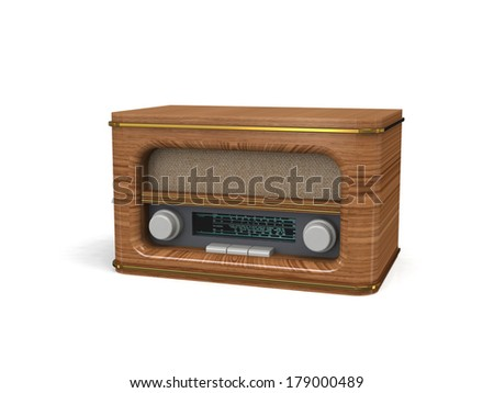 3d illustration retro radio - stock photo