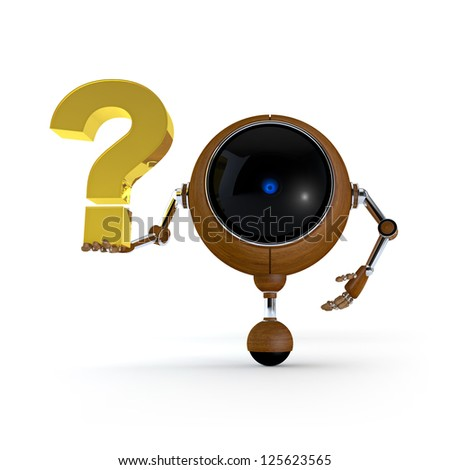3D Illustration Robot Hold Sign in Hand. Question Mark Sign. Isolated on Background - stock photo