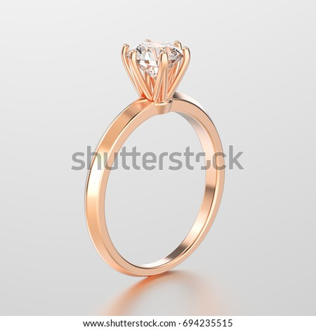 3D illustration rose gold traditional solitaire engagement diamond ring with reflection on a grey background