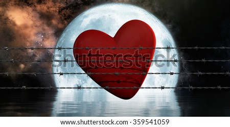 3d illustration rusty barbed wire metal and heart - stock photo