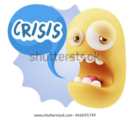 3d Illustration Sad Character Emoji Expression saying Crisis with Colorful Speech Bubble.