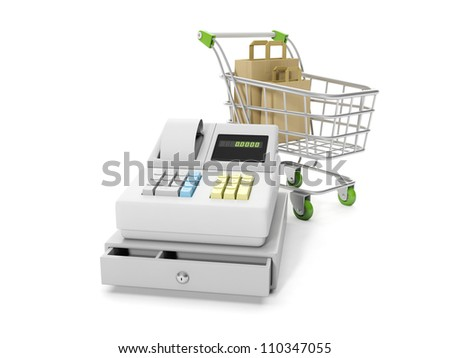 3d illustration: Sale and purchase. Cash mashines and shopping carts with paper bags - stock photo