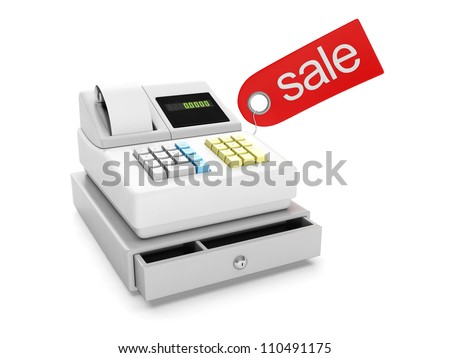 3d illustration: Sale and purchase. Cash register and sticker sale - stock photo