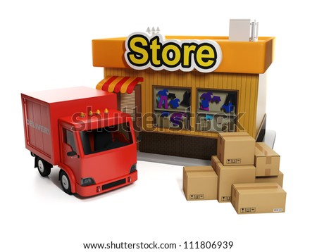 3d illustration: Sale and purchase. Shop and cardboard boxes and shipping - stock photo