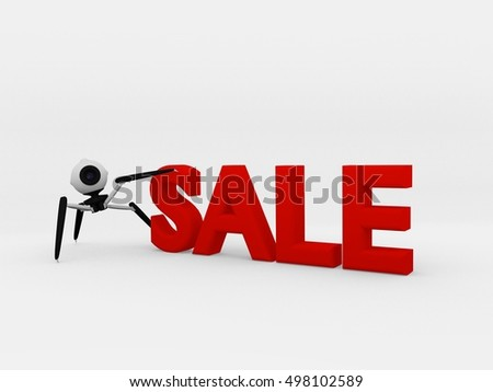 3D illustration: Sale on white background with a robot drone.