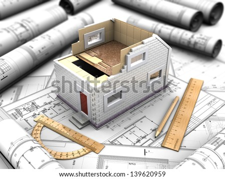 3d illustration scale model of a home - stock photo
