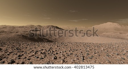 3D Illustration - Scattered regolith around Martian impact crater - stock photo