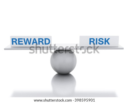 3D Illustration. Seesaw balance between reward and risk. Business concept. Isolated white background.