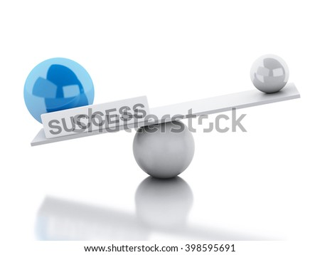 3D Illustration. Seesaw balance success. Business concept. Isolated white background. - stock photo