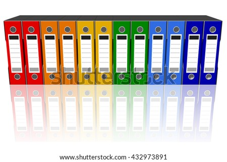 3D illustration. Series of folders of various colors wallets for document classification. Database.