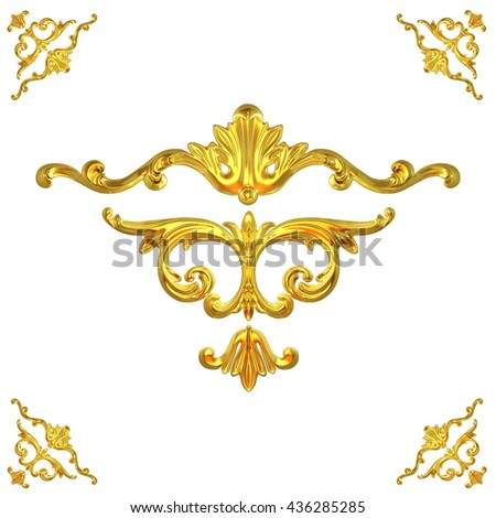 3d illustration set of an ancient gold on a white background - stock photo