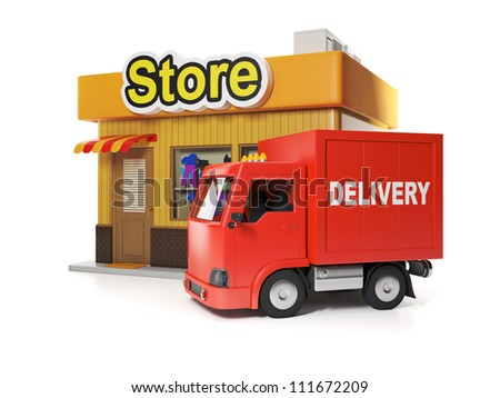 3d illustration: Shop and delivery. Free delivery from store - stock photo