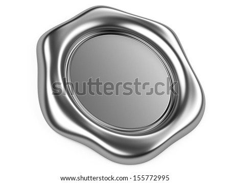 3d illustration silver seal isolated on a white background - stock photo