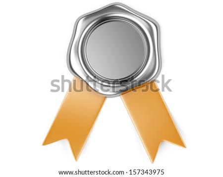 3d illustration Silver seal with orange ribbon  - stock photo