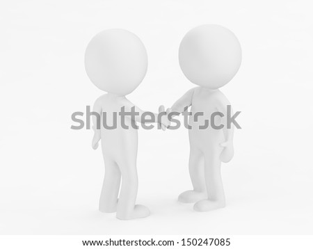 3d illustration simple deal, white background. - stock photo
