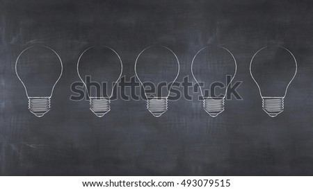 3d illustration slate with a drawing bulb