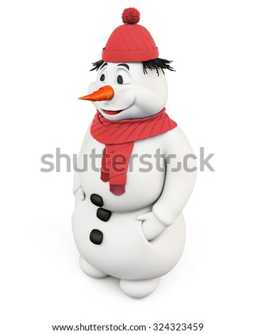 3d illustration snowman isolated on a white background.
