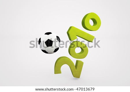 3D illustration, soccer events in 2010 - stock photo