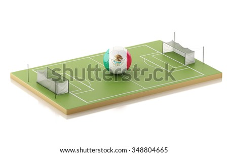 3d illustration. Soccer field and Mexico ball. Sports concept. Isolated white background