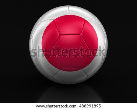 3D Illustration. Soccer football with Japanese flag. Image with clipping path