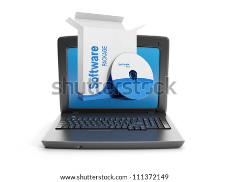 3d illustration: Software. Buy software for PC - stock photo
